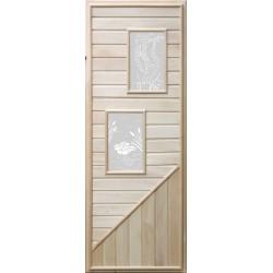 Дверь с  прямоугольными стеклами 1,85х0,75 м